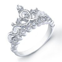Rhodium-plated Sterling Silver Crown Ring / Princess Ring (9)
