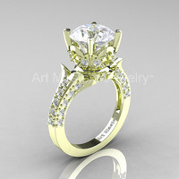 Classic French 14K Green Gold 3.0 Ct White Sapphire Diamond Solitaire Wedding Ring R401-14KGRGDWS