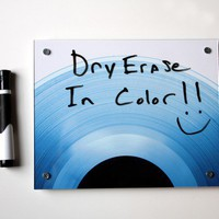 Dry Erase Board Art  Blue Record Vinyl by blueorder on Etsy