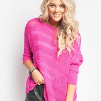 Hot Pink Loose Fitting Cozy Knit Top