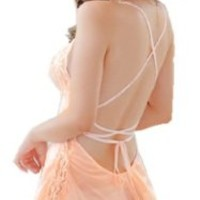 Tragarse Satin Deep-v Babydoll Short Sleepwear Lace Dress Backless Lingerie MM005E