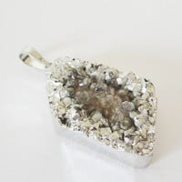 Amazing Silver Crystal Druzy Drusy Pendant, Gray Sparkly Dipped in Sterling Silver Plated Pendant, Select With Or Without Chain