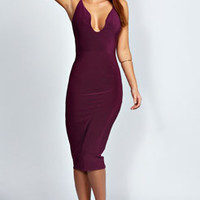 Lucy Plunge Neck Slinky Midi Bodycon Dress