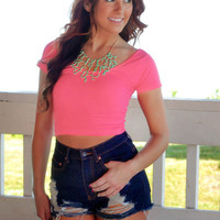 Sweet On You Crop Top - Hot Pink - ONE SIZE / HOT PINK
