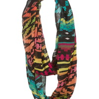 multi color ethnic print infinity scarf