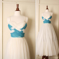 vintage EMMA DOMB prom dress woven turquoise by honeycombvintage
