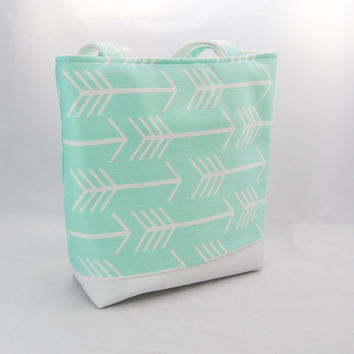 Mint green arrow tote bag white faux leather, handbag, purse, beach bag