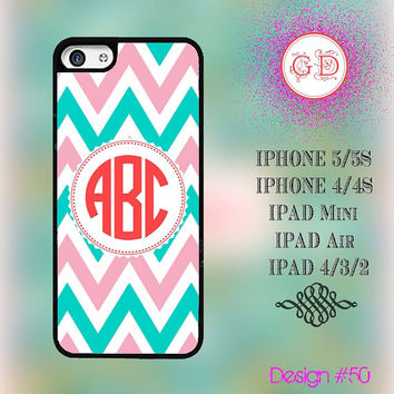 USA Custom Pink Blue Chevron Pattern Monogram @ IPhone 5 / 5S Case IPhone 4 / 4S Case , IPad Air , IPad Mini , Ipad 4 Smart Cover #50