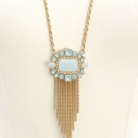 Faceted Stone Fringe Pendant Necklace