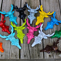 MOOSE HEAD Wall Hooks: PICK your Color by AquaXpressions