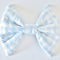 Gingham Hair Bow Blue Hair Bow Rockabilly by mienkintoshfairie