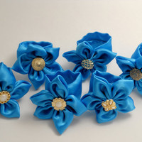 6 Silky Royal Blue Napkin Rings with Gold & Pearl by ReThinkMe