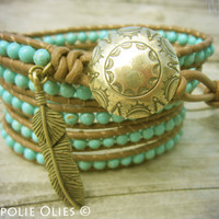 Navajo Turquoise Leather Wrap Bracelet by NoliePolieOlies on Etsy