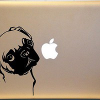 Adorable Pug Vinyl Decal for Macbook PC Laptop or Window Wall Decor | MakeItMineDesigns - Techcraft on ArtFire
