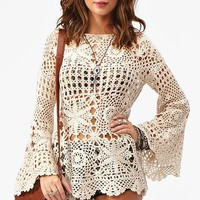 Ashbury Crochet Dress in Cream