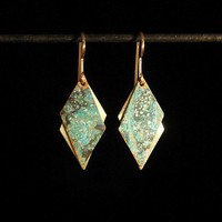 Patinaed brass earrings - mottled green parallelograms | dmbstudio - Jewelry on ArtFire