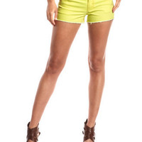 Charlotte Russe - Hot Kiss Neon Yellow Denim Short