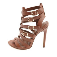 STRAPPY BUCKLED HIGH HEEL SANDALS