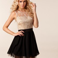 Patzy Lace Top Dress - Little Mistress - Svart/creme - Festklänningar - Kläder - NELLY.COM Mode online på nätet