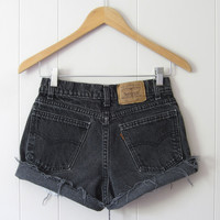 Vintage Levi's Black Mid-High Waisted Cut Off Denim Shorts Jean Cuffed 26""