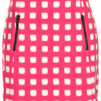 FUZZY GRID ZIP PELMET SKIRT