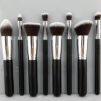 BESTOPE Premium Synthetic Kabuki Makeup Brush Set Cosmetics Foundation Blending Blush Eyeliner Face Powder Brush Makeup Brush Kit (8PCS Black+Silver)