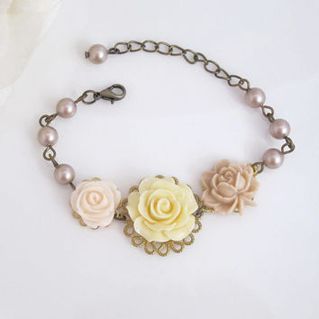 Romantic Florals Bracelet. Pink, Cream and Almond Roses, Power Almond Pearls. Country Wedding Bridal Flower Shabby Chic Bracelet
