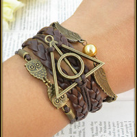 Harry Potter Bracelet Handmade Leather Braclet Deathly Hallows USA Seller Item #BST-162