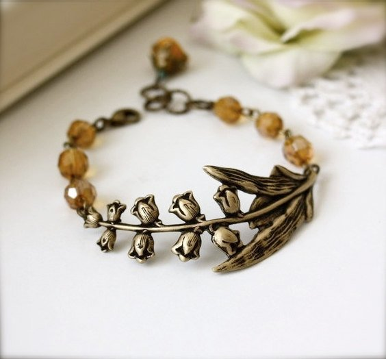 An Oxidized Brass Lily of the Valley Bracelet Gold by Marolsha