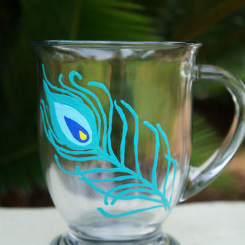 Peacock Feather Coffee Mug - Hand Painted Glass Coffee Mug