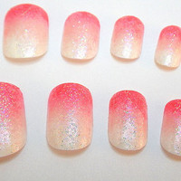 Glue On Nails Ombre Pink Gradient Glitter by NailKandy on Etsy