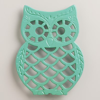 Aqua Cast Iron Owl Trivet - World Market