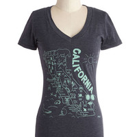 ModCloth Travel Mid-length Short Sleeves Golden State of Mind Tee