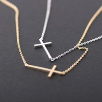 sideways cross necklace silver by bythecoco on Zibbet