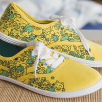 yellow hand painted sneakers by zazuljaa on Etsy