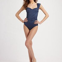 Badgley Mischka Swim - Shirred One-Piece Swimsuit - Saks.com