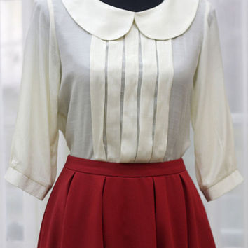 Peter Pan collar Pleat 3/4 Short Sleeve Blouse - Custom Sizing Available - ORT168