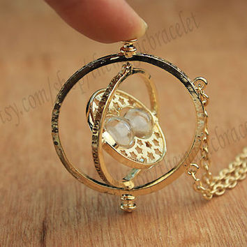 Harry Potter TIME TURNER necklace Pendant Hermione Granger Necklace 18k Yellow plated