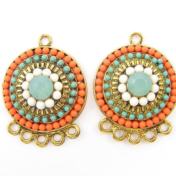 Pair of Orange Aqua Gold Beaded Medallion Boho Gypsy Hippie Earring Findings Pendant Charms