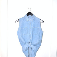 chambray sleeveless blouse / 90s pale light denim shirt
