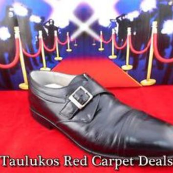 $70 Mens shoes STACY ADAMS Cap-Toe MONK STRAP slip-on Dress Black LEATHER 9 M