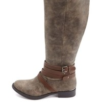 BURNISHED BELTED KNEE-HIGH RIDING BOOTS