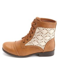 Crochet Lace-Up Ankle Combat Bootie