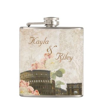 Rome Pink Roses Vintage Wedding Flask