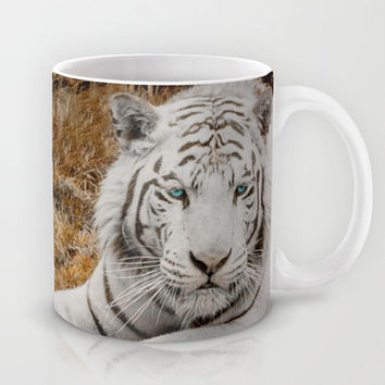 WHITE TIGER GAZE Mug by Catspaws | Society6
