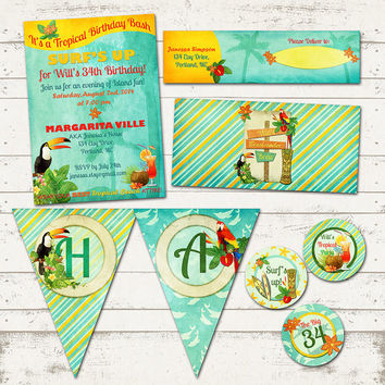Tropical Island Birthday Party Suite-Retro Beach, Hawaiian, Island themes-Exotic Birds and Margaritas - Great for Adults and Kids, CUSTOM