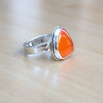 Orange Carnelian Stone Sterling Silver Boho Ring, Gypsy Style, Free Form Stone, Bohemian, Ready to Ship, Unique, Modern, OOAK