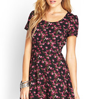 FOREVER 21 Rose Print Tea Dress Black/Magenta
