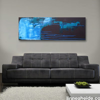 "Abstract Acrylic Painting Original Fine Art 12""x36"" by Linnea Heide - dark - modern - alaska - blue - teal - brown"