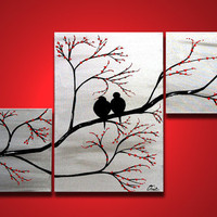 Love Birds in Tree Brance ORIGINAL Large Wall Art 40 x by OritArt